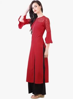 1dbff601050 Buy Libas Red Solid Front Open Slit Kurti online in India at best price.  Box the sartorial elegance and push it down the road wearing red coloured  kurta by ...