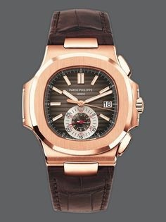 Patek Philippe Rose Gold Chronograph Nautilus. Mechanical Self-Winding Movement. Caliber CH 28-520 C. 60-Minute and 12-Hour Monocounter at 6 o'clock. Date in an Aperture. Sweep Seconds Hand (chronograph hand). Gold Applied Hour Markers with Luminescent Coating. Screw-Down Crown. Nautilus Fold-Over Clasp. Sapphire-Crystal Case Back. Water Resistant to 120 m. Available at London Jewelers!