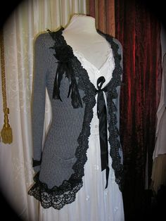 Gray Bohemian Sweater Coat - a OOAK altered upcycled project embellished with black scalloped venise lace by Dede