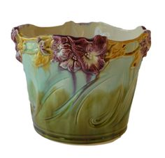 Art Nouveau French Majolica Jardiniere Planter Cache Pot - Flower Art - French Flowers Centerpiece Pot - French Country Cottage