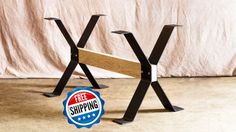 Steel dining table legs, trestle style. These legs are made using 1/4 thick x 5 wide flat bar. These are great for DIYers and crafters, as almost any size cross beam can be used. Just find a through-bolt to fit your beam, and the legs are bolted to themselves, squeezing your beam between them, adding a ton of support. These are a great option for a modern looking dining table and are very sturdy so they can handle that 2.5 thick slab. The wooden beam is NOT included in this set of legs,...