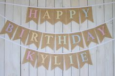 Happy Birthday Pastel Rainbow Custom Burlap Birthday Banner for Girl First Birthday Party by MsRogersNeighborhood Etsy Shop