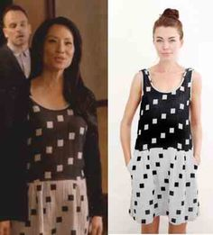Elementary season 2, episode 21 fashion: Click to find out where Joan Watson (Lucy Liu) got her black and white, square-print dress #elementary #joanwatson #lucyliu