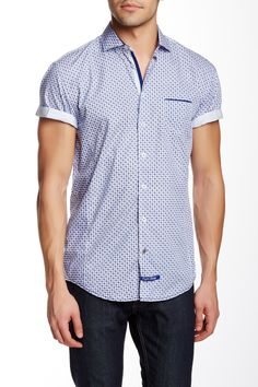Short Sleeve Woven Trim Fit Shirt by English Laundry on @HauteLook