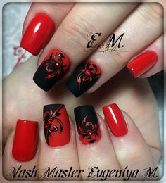 Nail Designs 2018 Red And Black Ideas - black and red nail art best designs 2018 rhinestone - arttonail Red Black Nails, Red Nail Art, Matte Red, Black Toe, Red Nail Designs, Beautiful Nail Designs, Beautiful Patterns, Fancy Nails, Trendy Nails