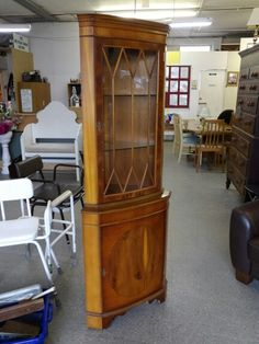 Corner Cabinet With Glass Shelves & Storage Cupboard, £25, Local Delivery Service Available (PC843) 5000 sq ft showroom OPEN 7 days a week,