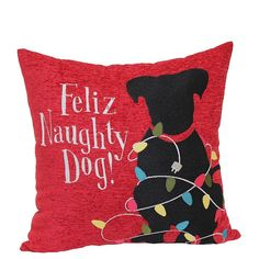 "18 x 18"" Naughty Dog Tapestry Pillow Christmas Gift New Fun Colorful Lights #Unbranded"