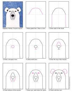 Draw Polar Bear Head Basic Drawing, Drawing Lessons, Drawing For Kids, Art For Kids, Drawing Step, Draw Tutorial, Polar Bear Drawing, Arte Elemental, First Grade Art