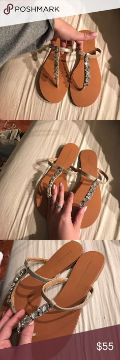 Badgley Mischka Sandals Never worn. Missing a gem (shown in picture) you can't notice while wearing Badgley Mischka Shoes Sandals