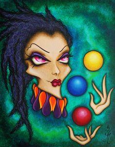 8 x 10 imprimer Fantasy Circus Lowbrow femme Juggle Ball visage Clown Jester magique surréalisme Pop Art Reproduction par Natalie VonRaven