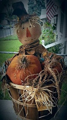 Scarecrow Jack is so adorable for fall. Pattern is for pumpkins as well. Put him in an old basket and arrange for such a cute fall arrangement. Scarecrow alone is aprox 24 tall. Listing is for Pattern Only. Primitive Scarecrows, Diy Scarecrow, Fall Scarecrows, Primitive Pumpkin, Primitive Crafts, Primitive Christmas, Cowboy Christmas, Christmas Trees, Scarecrow Painting