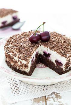 raw black forest gateau with fresh cherries