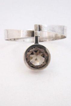 Elis Kauppi for Kupittaan Kulta, Finland - vintage sterling & smoky quartz bracelet
