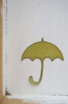 Patch iron on applique umbrella green for girl
