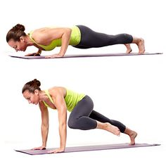 """Push-up alternating knee tap Start in """"up"""" part of push-up, hands directly under shoulders, body straight. Engage core; bend elbows to lower body toward floor. Press back up; bring left knee to outside of left elbow; pause for 2 seconds, then return to starting position. Do another push-up, bring right knee to right elbow, return to start; that's 1 rep.   