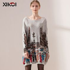 Autumn Casual Long Women Sweater Coat Batwing Sleeve Print Like if you remember Get it here