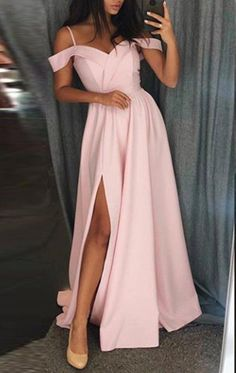 MACloth Off the Shoulder Pink Long Prom Dress Satin Formal Evening Gown Source by StefanAachenn dresses for teens short Prom Dresses Long Pink, Pink Party Dresses, Pretty Prom Dresses, Ball Dresses, Elegant Dresses, Dress Long, Light Pink Dresses, Light Pink Long Dress, Prom Dresses For Teens Long