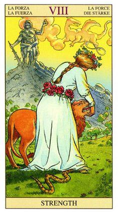 A Força, Arcano Tarot Of New Vision por Pietro Alligo ilustrado por Raul y Gianluca Cestaro, baseado no Tarot de Rider-Waite. Wicca, Magick, Tarot Rider Waite, Strength Tarot, Tarot Cards Major Arcana, Alchemy Symbols, Daily Tarot, Tarot Card Decks, Oracle Cards
