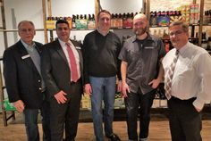 Wes Davis, David Arena, Roger Shubert, Ryan Tracy (Beer on the Wall Owner) and Mayor Marty Maloney at the Beer on the Wall Ribbon Cutting!