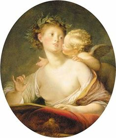 Sappho inspired by Cupid (c.1780). Jean-Honoré Fragonard (French, 1732-1806). Oil on canvas. Sappho, the laurel-crowned poetess, is sweet-faced and accessible but her marmoreal flesh is flawless, like a Greek sculpture, and she is bathed in a sepulcral, almost lunar light. Intimately acquainted with the art and culture of the classical past, Fragonard always infused his vision of Antiquity with a vitality that gives it immediacy and life.