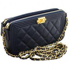 76113de25 Chanel Boutique Structured Shoulder Bag - Chanel Boy Navy Wallet On Chain  Woc Double Zip Lamb