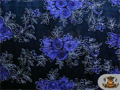 Mesh Sequin Fabric Rose Swirl Begonia 02 BLUE VIOLET SWATCH