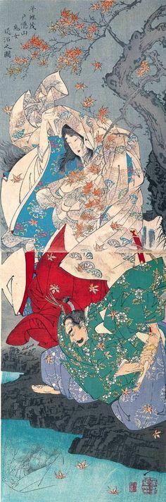 TSUKIOKA Yoshitoshi (1839~1892), Japan 月岡芳年. Taira no Koremochi slaying a demon woman in Mount Togakushi.