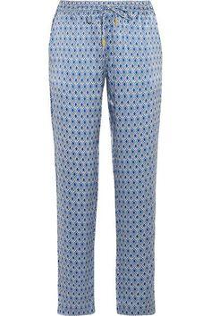 Paloma Blue - Venice Printed Silk-satin Pants - Bright blue - medium