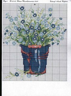 Flower forget me nots cross stitch