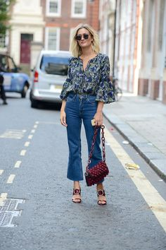 cropped jeans and boho blouse.