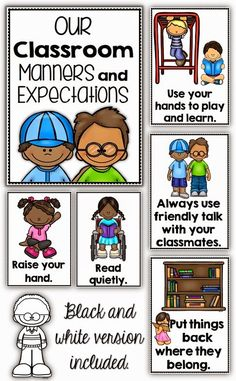 Classroom Manners and Expectations Posters Clever Classroom (review through out the year) post on white board, bind into a book.