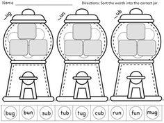 math worksheet : 1000 images about short vowel word families on pinterest  word  : Rhyming Worksheets For Kindergarten Cut And Paste