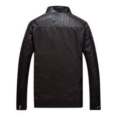 Mens Autumn Winter Thicken PU Leather Jacket Solid Color Stand Collar Slim Fit Coat - Banggood Mobile