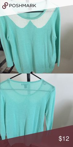 Mint knit top Mint top with white collar Forever 21 Tops Blouses