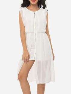 #Fashionmia - #Fashionmia Plain Split Zips Designed Round Neck Shift-dress - AdoreWe.com