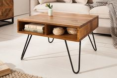 Wood Coffee Table with Hairpin Legs Coffee Table, Table, Steel Furniture, Living Room Table, Console Table Decorating, Wooden Tables, Interior, Diy Living Room Decor, Furniture