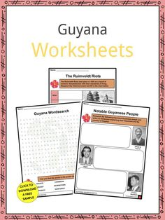This is a fantastic bundle which includes everything you need to know about the Guyana across 20 in-depth pages. These are ready-to-use Guyana worksheets that are perfect for teaching students about the Guyana which is a country located on the northern mainland of South America, between Venezuela, Suriname, and Brazil. It is considered part of the Caribbean region due to its strong cultural and historical ties to the Caribbean community. Guyana is home to nearly 1 million people. Mount Roraima, Geography Worksheets, Caribbean Culture, Sign I, Facts, Teaching, History, South America, Brazil