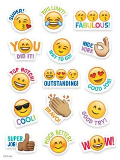 Cheap back to school supplies for teachers - Emoji reward stickers for your class Reward Stickers, Teacher Stickers, Emoji Stickers, Printable Stickers, Cute Stickers, Planner Stickers, Teacher Stamps, Student Teacher Gifts, School Supplies For Teachers