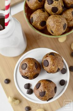 Chewy Chocolate Chip Cookie Dough Bites are naturally sweetened, vegan, and gluten-free. These bites are the perfect cure for a sweet tooth! | iowagirleats.com