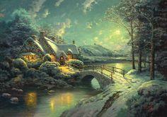 Painting & Co - Thomas Kinkade - Christmas Moonlight (2016)