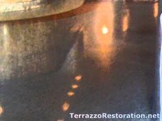 """How to Polish your Terrazzo  This is a method of taking off uneven areas in your Terrazzo Top layer of your floor. Bringing a fresh layer to be cleaned When the repairs are complete, each is inspected for match. """"Now we begin the refinishing process, grinding the floor with a diamond bonded disk."""