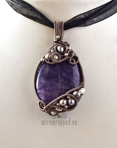OOAK ramethyst and pearls oval freeform wire wrapped pendant