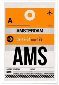AMS-Amsterdam as Premium Poster by Naxart | JUNIQE
