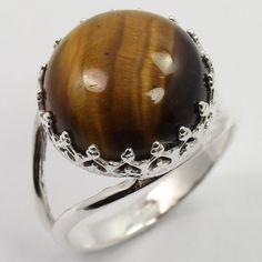 Handmade Art Ring Size US 7.25 Genuine TIGER'S EYE Gemstone 925 Sterling Silver #SunriseJewellers #Fashion