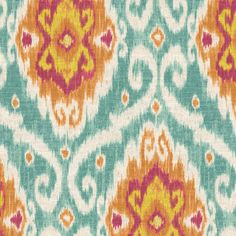 Red & Blue Ikat Medallion Fabric | Spice Islands Caribbean | Loom Decor