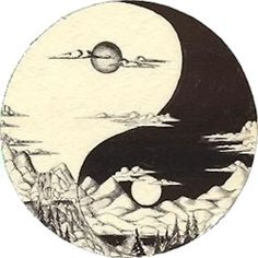 ying and yang tattoo idea #mountains #sun
