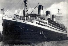 """Cap Arcona, named after Cape Arkona on the island of Rügen, was a large German ocean liner built for the Hamburg Südamerikanische Dampfschifffahrts-Gesellschaft (""""Hamburg-South America Line""""). She carried passengers and cargo between Germany and the east coast of South America, and in her time was the largest and quickest ship on the route"""