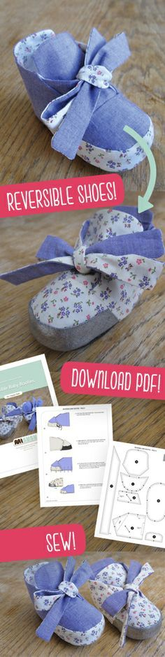 (Jenni) Free pattern for baby booties… Baby Sewing Projects, Sewing For Kids, Sewing Tutorials, Sewing Crafts, Diy Projects, Sewing Ideas, Quilt Baby, Baby Patterns, Sewing Patterns