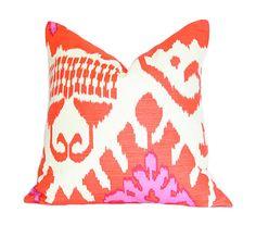 Kazak Ikat Orange and Pink  Quadrille  Designer by AriannaBelle