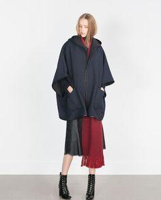HOODED WOOL CAPE from Zara